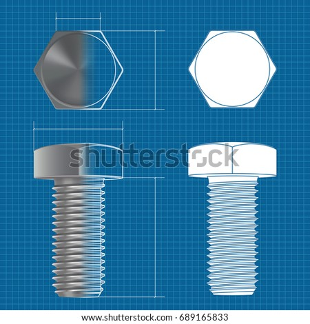 Metal hex bolt 3d illustration flat stock illustration 689165833 metal hex bolt 3d illustration and flat white icon on blueprint background raster version malvernweather Images