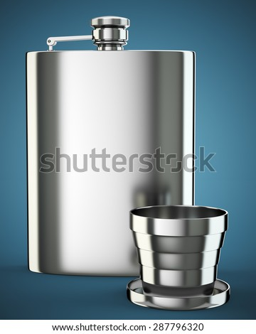 Metal hip flask with cup on dark blue background. 3d render - stock photo