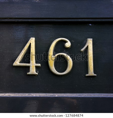 metal house number four hundred and sixty-one - stock photo