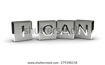 Metal I Can Text (Isolated on white background) - stock photo