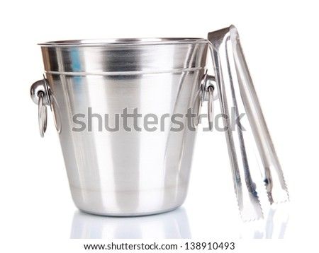 Metal ice bucket isolated on white