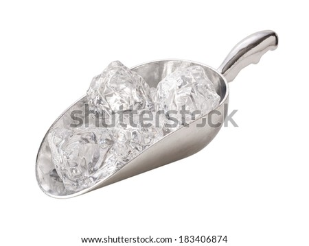 Metal Ice Scooper isolated on white with a clipping path. - stock photo