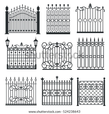 Metal Iron Gates Grilles Fences Ornamental Stock