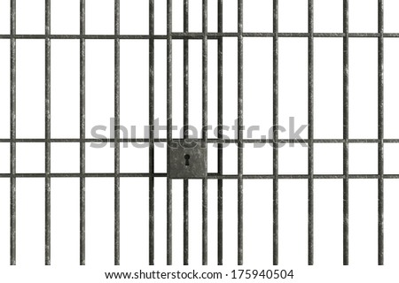 Metal Jail bars isolated on a white background - stock photo
