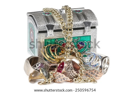 Metal jewelry box on a white background - stock photo