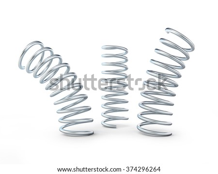 metal jumping spring isolated on white background - stock photo