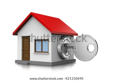 Metal Key Inserted in an House Shaped Lock 3D Illustration on White Background - stock photo