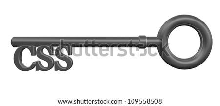 metal key with css tag on white background - 3d illustration
