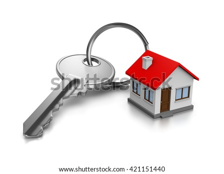 Metal Key with Key Rings in the Shape of a House on White Background 3D Illustration