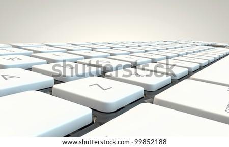 metal keyboard isolated on white background - stock photo