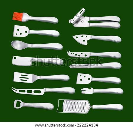 Metal kitchen utensils  - stock photo