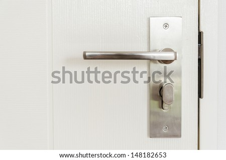 Metal knob on white door