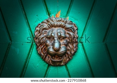 metal knocker as lion head with green background - stock photo