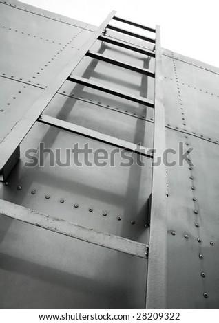 metal ladder on truck - stock photo