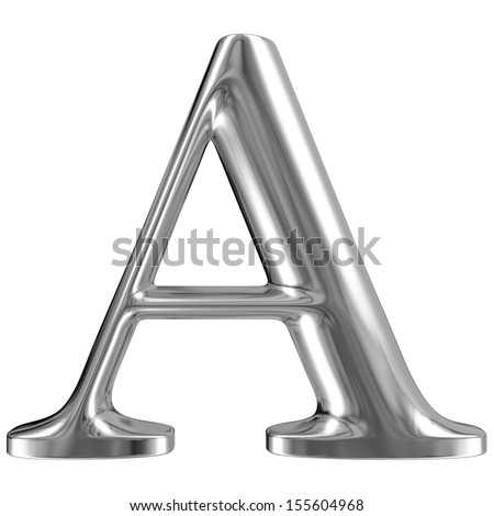 Metal Letter A from chrome solid alphabet. - stock photo
