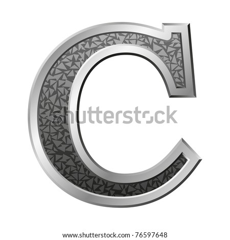 Metal letter C with a silvery fringing on a white background