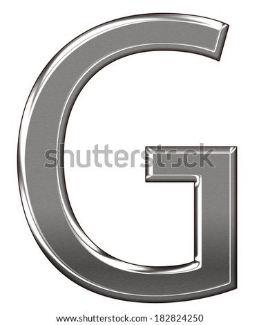 "Metal Letter ""G"" chrome alphabet  isolated on white background - stock photo"