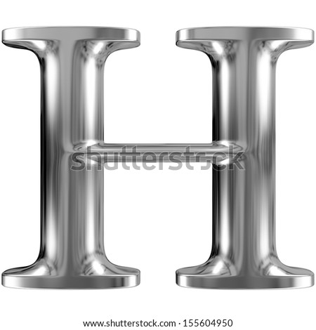 Metal Letter H from chrome solid alphabet. - stock photo