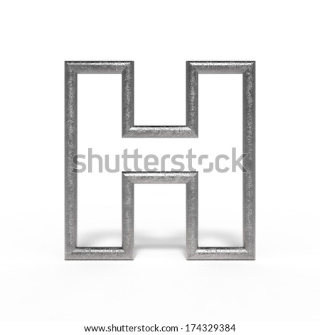 metal letter H isolated on white background - stock photo