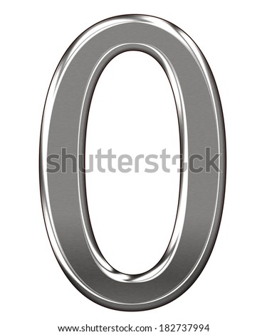 "Metal Letter number ""0"" isolated on white background"