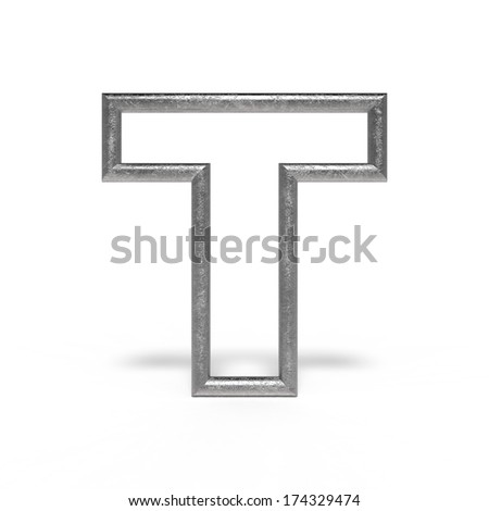 metal letter T isolated on white background - stock photo