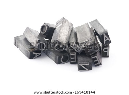Metal letterpress printing blocks with clipping path - stock photo