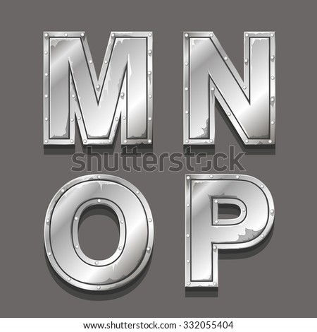 Metal letters and symbols M N O P - stock photo