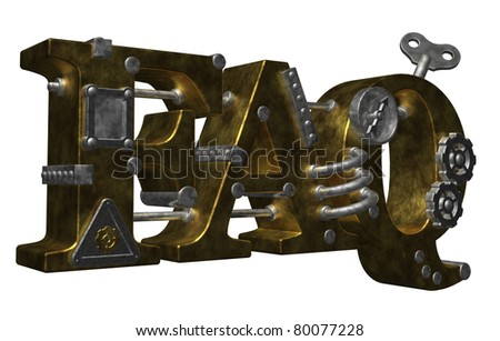 metal letters faq on white background - 3d illustration