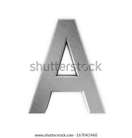 Metal Letters isolated on white background (Letter A) - stock photo