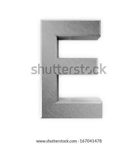 Metal Letters isolated on white background (Letter E) - stock photo