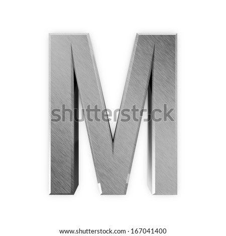 Metal Letters isolated on white background (Letter M) - stock photo