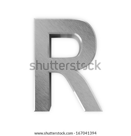 Metal Letters isolated on white background (Letter R)