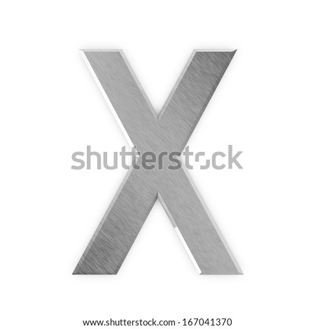 Metal Letters isolated on white background (Letter X) - stock photo