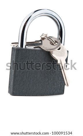 metal lock and keys isolated on a white background