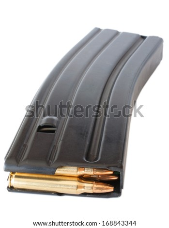 Metal magazine made for an AR-15 that holds thirty rounds - stock photo