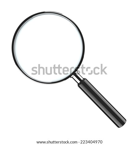 Metal Magnifier Glass Isolated on White Background - stock photo