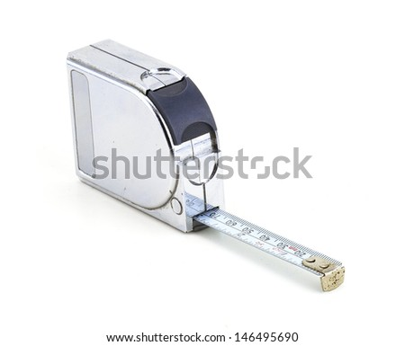 metal measure tape in a white background - stock photo