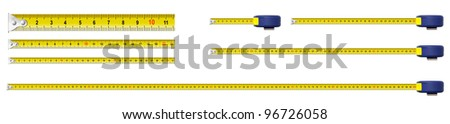 metal measure tapes set isolated including one meter - stock photo