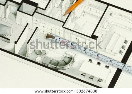 Metal measuring tape and sharp pencil on authentic artistic inspiring living room apartment fragment showing artistic approach in contractor investment home building business and funding - stock photo