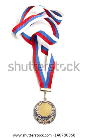 Metal medal with tricolor ribbon isolated on white background - stock photo