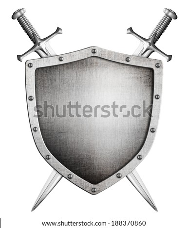 metal medieval shield and crossed swords behind it isolated on white - stock photo