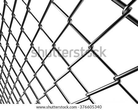 metal mesh fence - stock photo