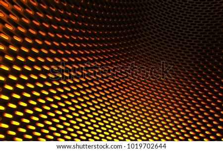 Metal mesh grild. Abstract 3d rendering background in high resolution. 3d render of  black carbon grid with orange light.