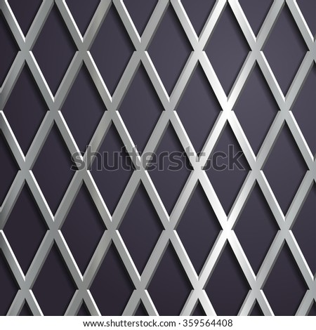 Metal mesh. Steel geometric background. Stock illustration. - stock photo