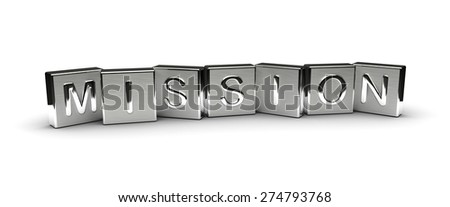 Metal Mission Text (isolated on white background) - stock photo