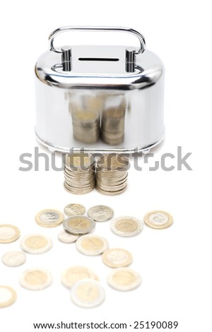 metal money box and coin over white - stock photo