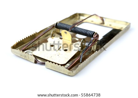 Metal mousetrap on a white background - stock photo