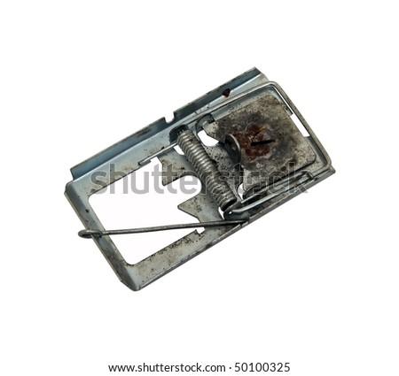 metal mousetrap. vintage metal mousetrap. - stock photo