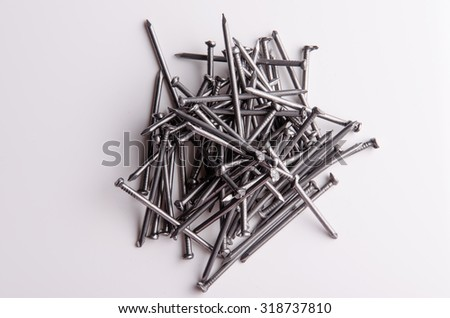 Metal nails for home construction. - stock photo
