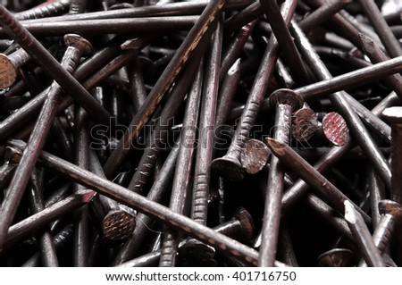 metal nails full frame background - stock photo